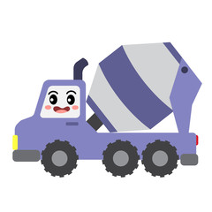 Concrete Mixer Truck transportation cartoon character side view isolated on white background vector illustration.