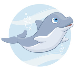 Cute Smiling Cartoon Dolphin in Sea Circle Design Vector Illustration Isolated on White
