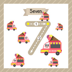 Cute children Flashcard number seven tracing with 7 Food Trucks for kids learning to count and to write.