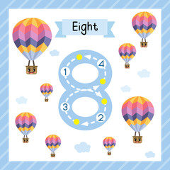 Cute children Flashcard number eight tracing with 8 Hot Air Balloons for kids learning to count and to write.