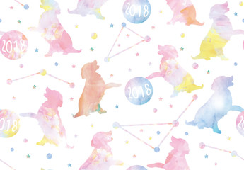 Year of the dog 2018 watercolor seamless pattern white, blue, pink, yellow, orange