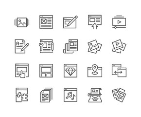 Simple Set of Web Content Related Vector Line Icons. Contains such Icons as Landing Page, Image and Video Gallery, Page Components and more. Editable Stroke. 48x48 Pixel Perfect.