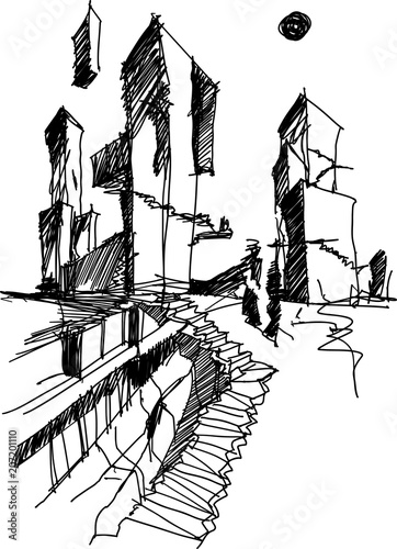 hand drawn architectural sketch of a modern abstract