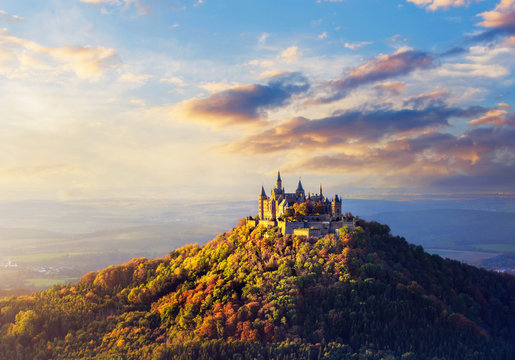 Panoramic view of German Castle Hohenzollern during sunset