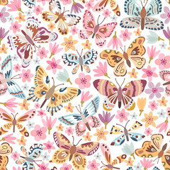 Vector butterfly seamless pattern