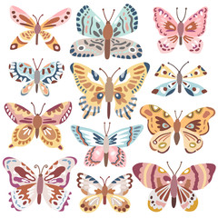 Vector cute butterfly set