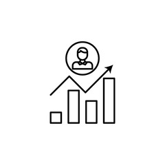 career grows line icon. Element of head hunting icon for mobile concept and web apps. Thin line career grows icon can be used for web and mobile. Premium icon