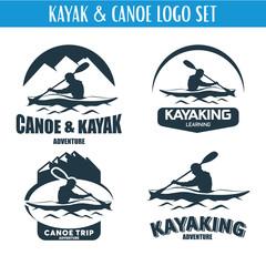 Canoe or Kayaking Logo Designs Template Set