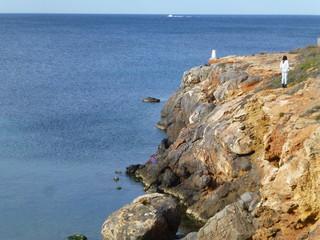 Playa en la Manga del Mar Menor en El cabo de Palos, poblacion de España en aguas del mar Mediterráneo que se encuentra en el municipio de Cartagena, en la Región de Murcia (España)