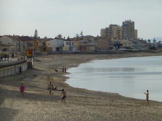 La Manga del Mar Menor en Cabo de Palos, poblacion de España en aguas del mar Mediterráneo que se encuentra en el municipio de Cartagena, en la Región de Murcia (España)