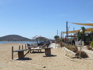 La manga del Mar Menor junto al cabo de Palos, poblacion de España en aguas del mar Mediterráneo que se encuentra en el municipio de Cartagena, en la Región de Murcia (España)