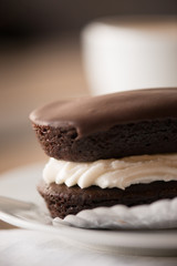 Homemade chocolate vanilla cream dessert
