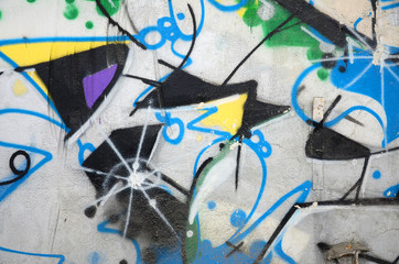 Street art. Abstract background image of a fragment of a colored graffiti painting in chrome and blue tones
