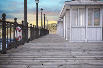 Beach Pier with beautiful sky, 3d render.