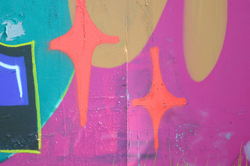 Street art. Abstract background image of a fragment of a colored graffiti painting in fashionable...