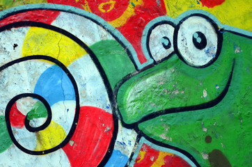 Street art. Abstract background image of a full completed graffiti painting with cartoon frog and...
