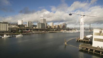 Bird's Eye View of the Thea Foss Waterway in Tacoma Washington