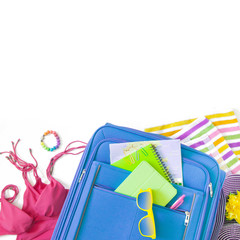 Summer holiday background, Beach accessories on white background, Vacation and travel items