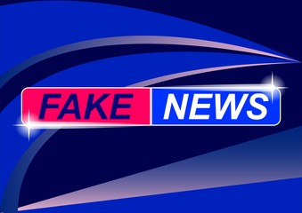 Background screen saver on fake news. Fake news on blue abstract background.