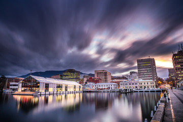Elizabeth pier and Hobart waterfront with Mount Wellington in he background, captured at sunset in Tasmania, Australia Wall mural