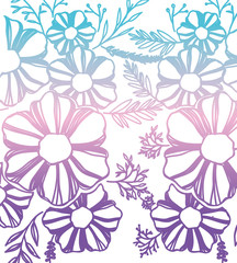 flower and leafs decorative pattern background vector illustration design