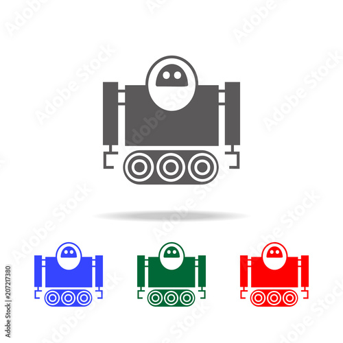 robot on caterpillar icons  Elements of robots in multi
