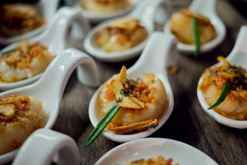 buffet food, catering food party at restaurant, mini canapes, snacks and appetizers, wedding celebration