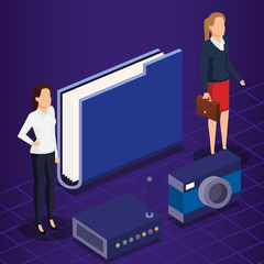 digital technology with business people isometric vector illustration design