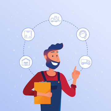 Happy caucasian logistics manager choosing logisitics option. Delivery, storage, loading as concept of modern warehousing services and logistics technology. Vector illustration on blue background.