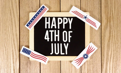 Happy 4th of July Typography Over Wood Background. Photo image