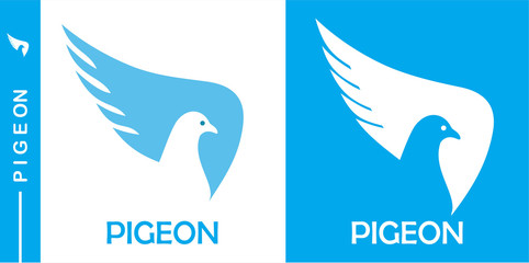 pigeon, dove,  simple flat negative space of dove head icon.