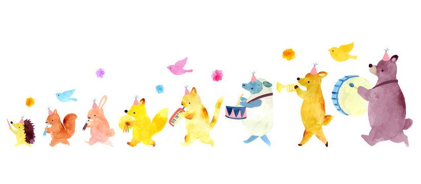 Animal fife and drum illustration