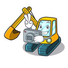 Photographer excavator mascot cartoon style