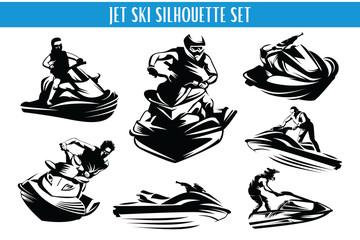 Extreme Jet Ski Silhouette Set
