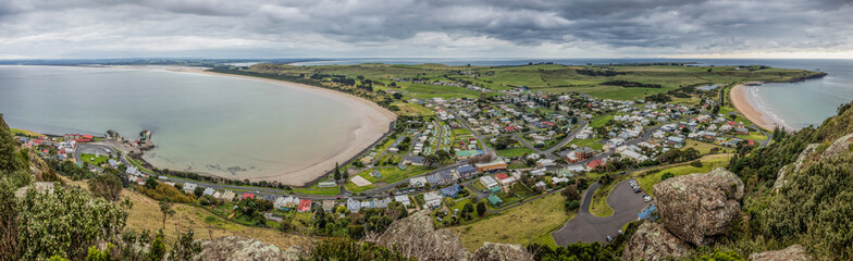 Panoramic view of Stanley, an small fihing town in north west Tasmania as seen from the Nut. Fotomurales