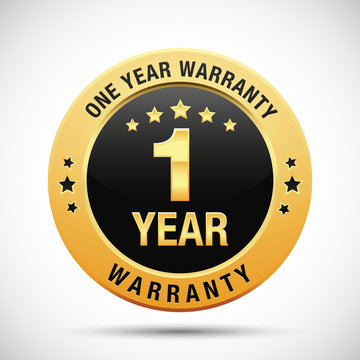 1 year warranty golden label isolated on white background