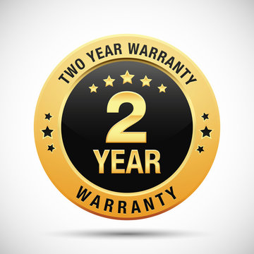 2 year warranty golden label isolated on white background