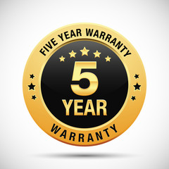 5 year warranty golden label isolated on white background
