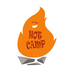 Hot camp logo.Vector illustration.Cartoon style.Bonfire.