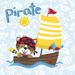 funny pirate or sailors cartoon vector with wooden sailboat on sailing equipment pattern background