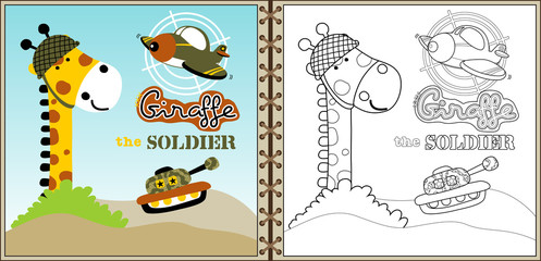funnt army cartoon vector with military vehicles, coloring book or page