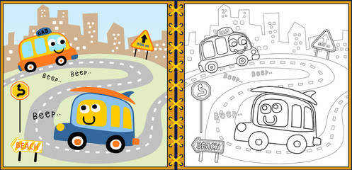coloring book or page with funny vehicles cartoon