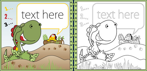 Vector of dinosaurs cartoon playing hide and seek. coloring book or page
