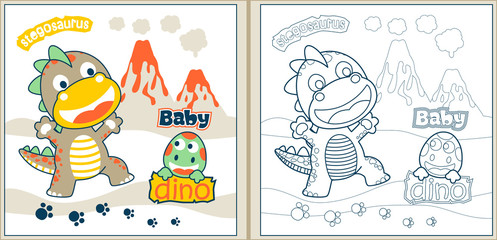 baby dinosaurs cartoon, coloring page or book. eps 10