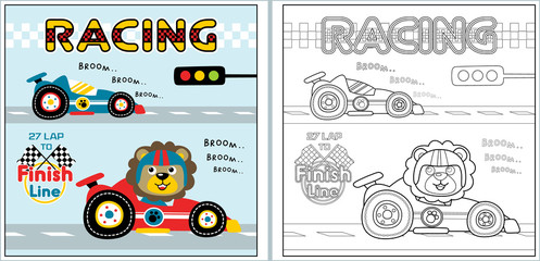 racing cartoon with funny racer, coloring page or book. eps 10