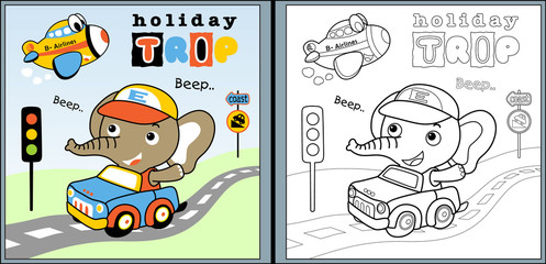 holiday trip with little elephant cartoon, coloring page or book. eps 10