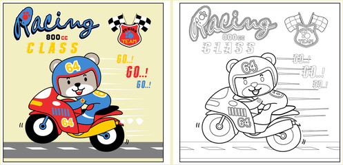 cute racer on motorbike cartoon, coloring page or book