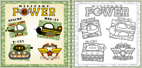 Vector of military equipment, armored vehicle, coloring page or book