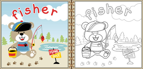little fisher cartoon vector, coloring page or book. eps 10