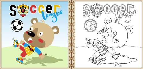 funny soccer player cartoon vector, coloring page or book. eps 10